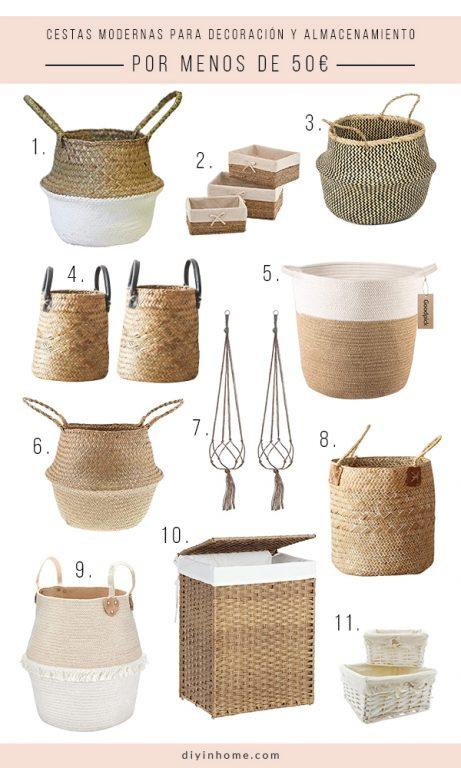 cestas de mimbre para decorar tu casa